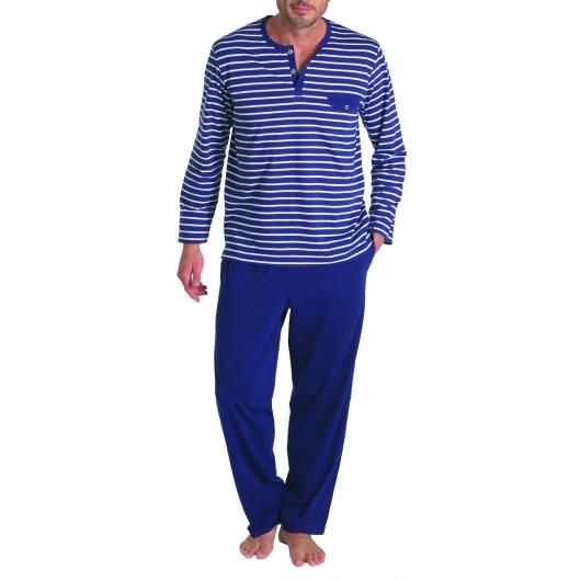 pyjama pour hommes bleu et blanc rayé marinière